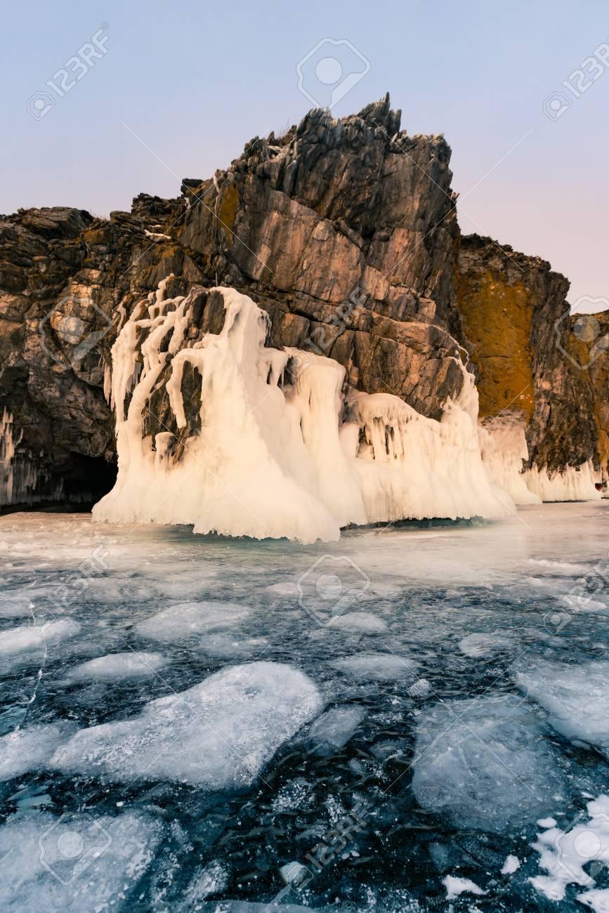 Freeze water lake Baikal Russia winter season natural landscape