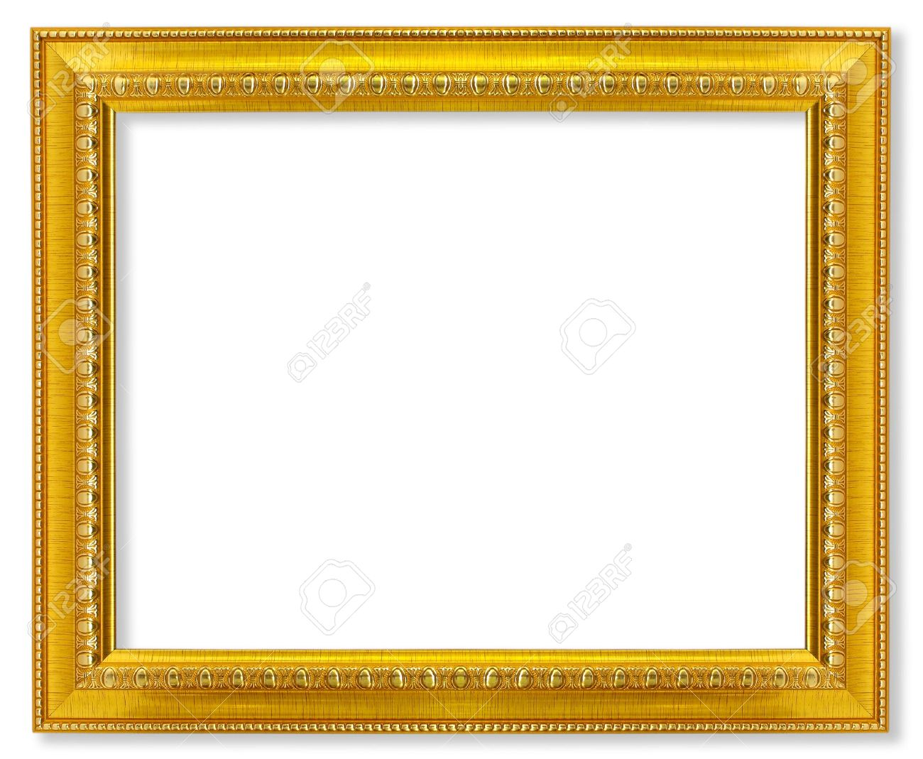 stock photo the antique gold frame on the white background