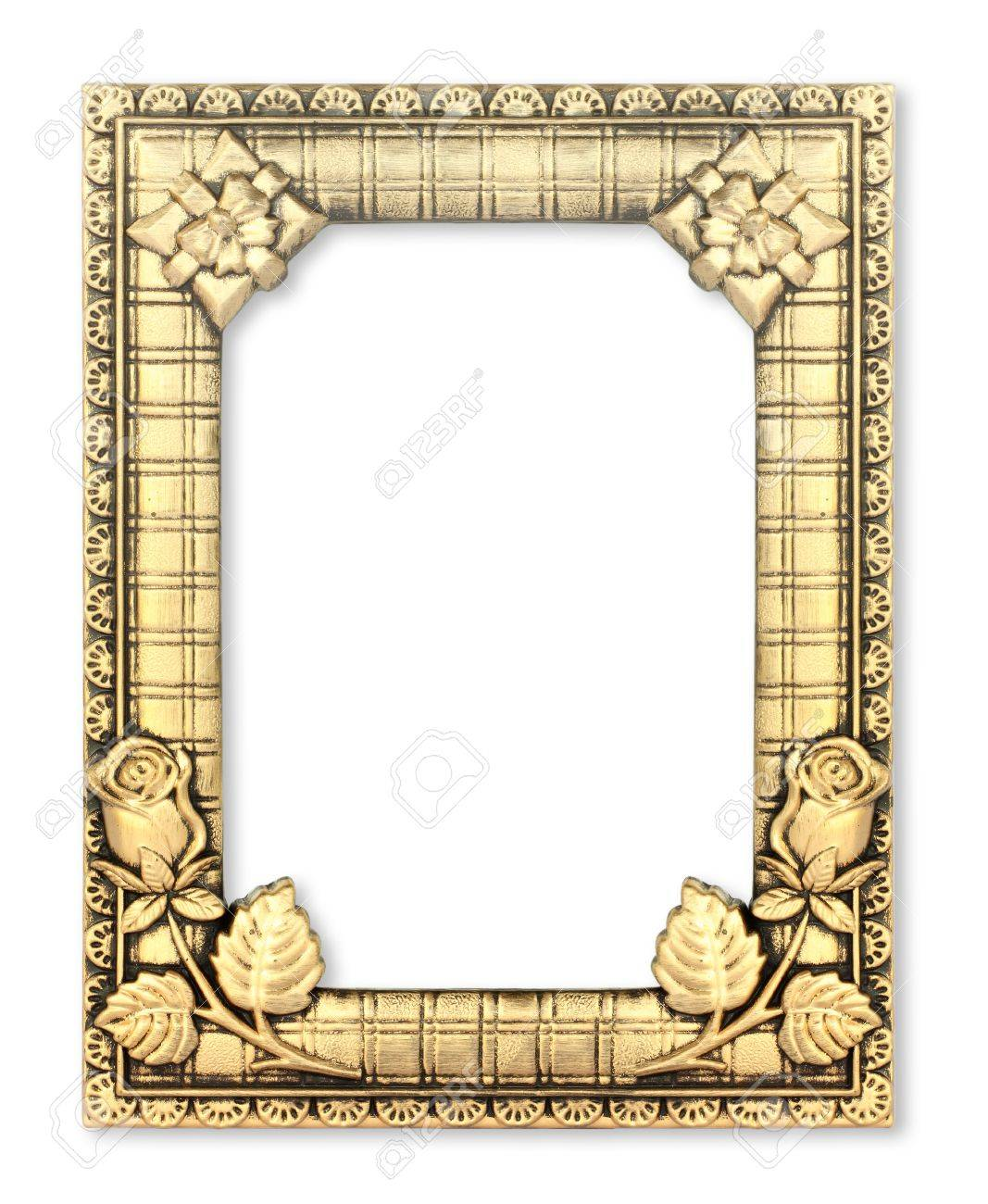 The gold frame on the white background Stock Photo - 14250775