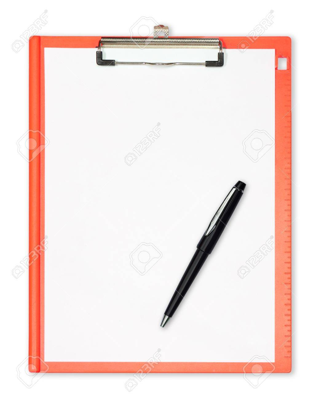 clipboard with  pen isolated on white Stock Photo - 14823037