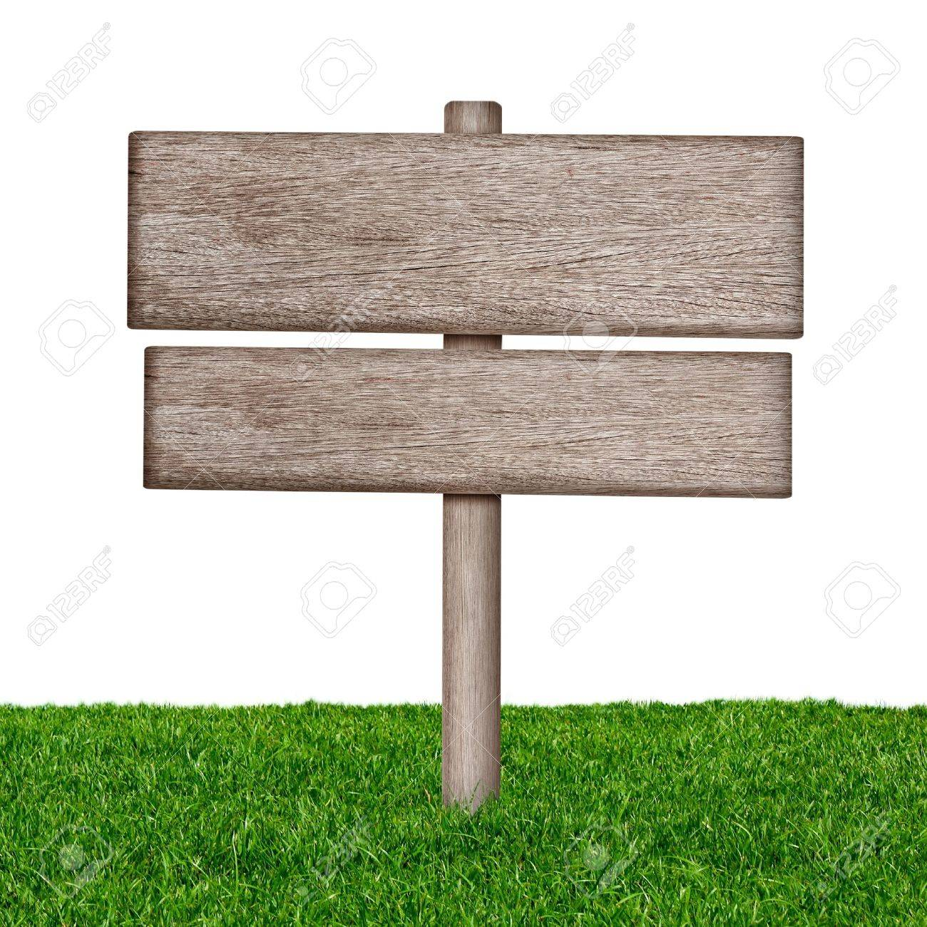 Wooden sign with green grass isolated on a white background - 15443359