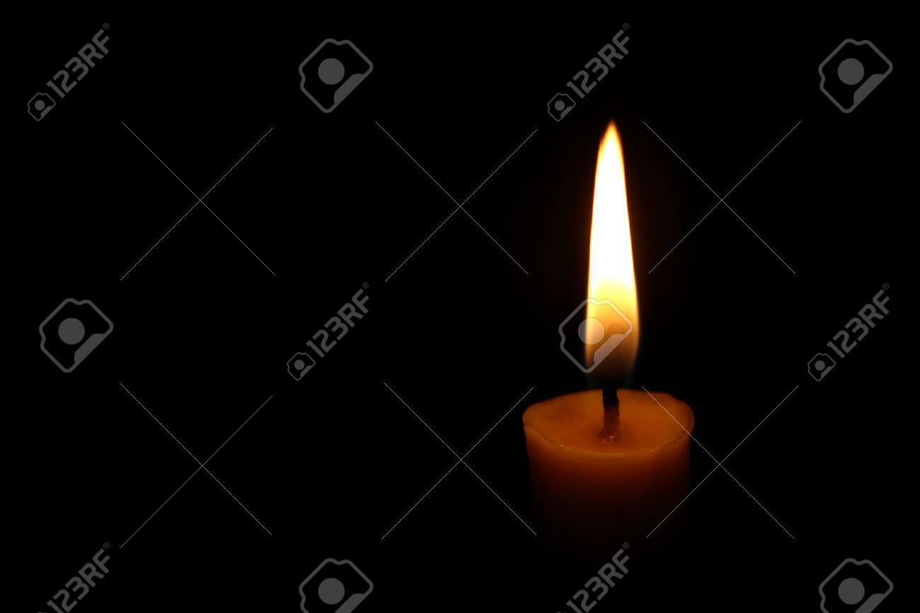 One candle flame at night closeup - 40776907