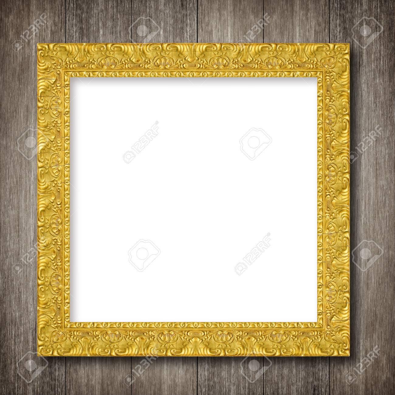Marco Antiguo Del Oro Sobre Fondo De Pared De Madera Fotos, Retratos ...