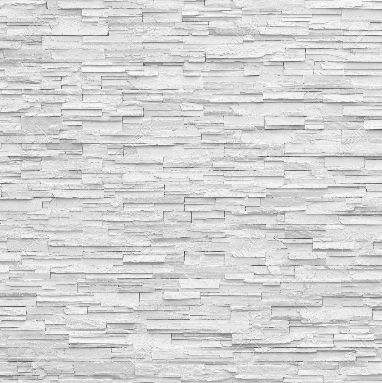 pattern of decorative slate stone white wall surface - 51521311
