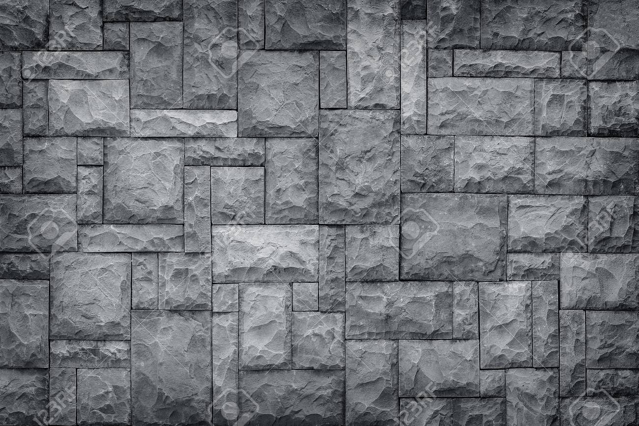 Pattern Of Decorative Black Slate Stone Wall Surface Black