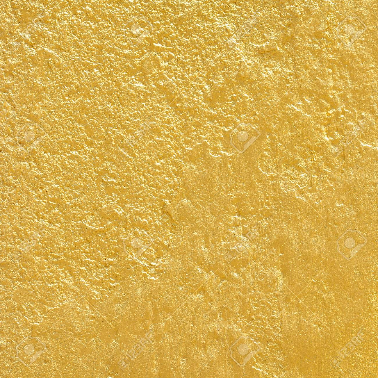 Gold Paint On Rough Cement Wall Texture. Gold Background Stock ...