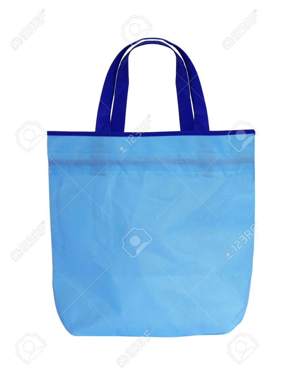 Blanco Compras Fondo Bolso Con Mango De Azul En El H29WDIE