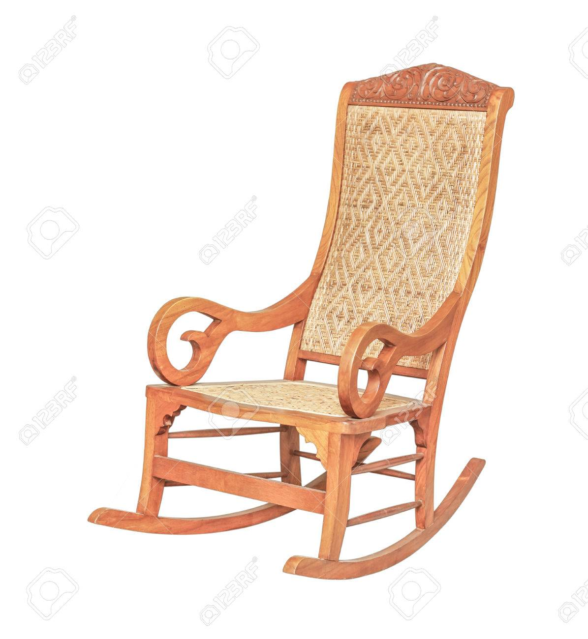 An antique cane rocking chair isolated on white. Stock Photo - 69501660 - An Antique Cane Rocking Chair Isolated On White. Stock Photo