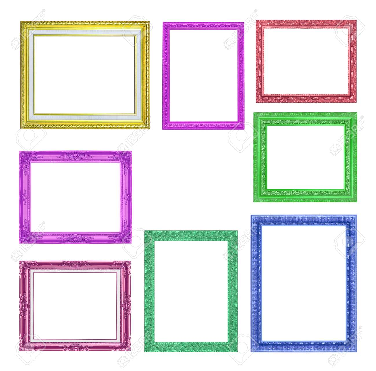 f2eb543756f4 The collection colorful frames on the white background Stock Photo -  72274221