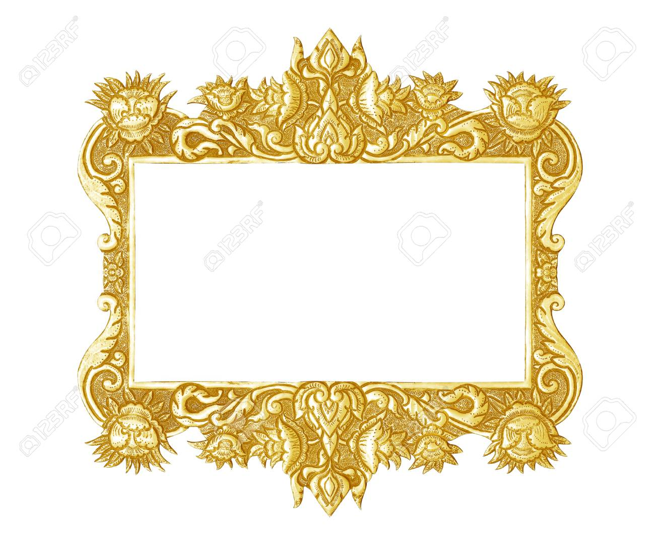 Old Decorative Silver Frame - Handmade, Engraved - Isolated On ...