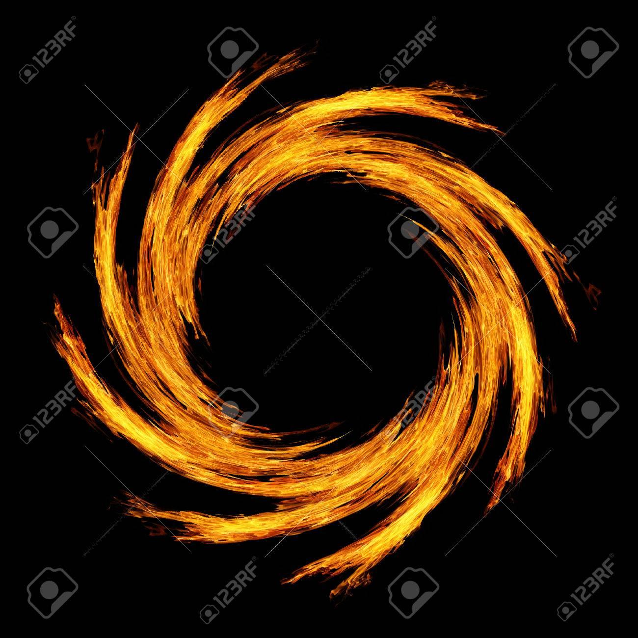 火輪は黒い背景に動きをクルクル...