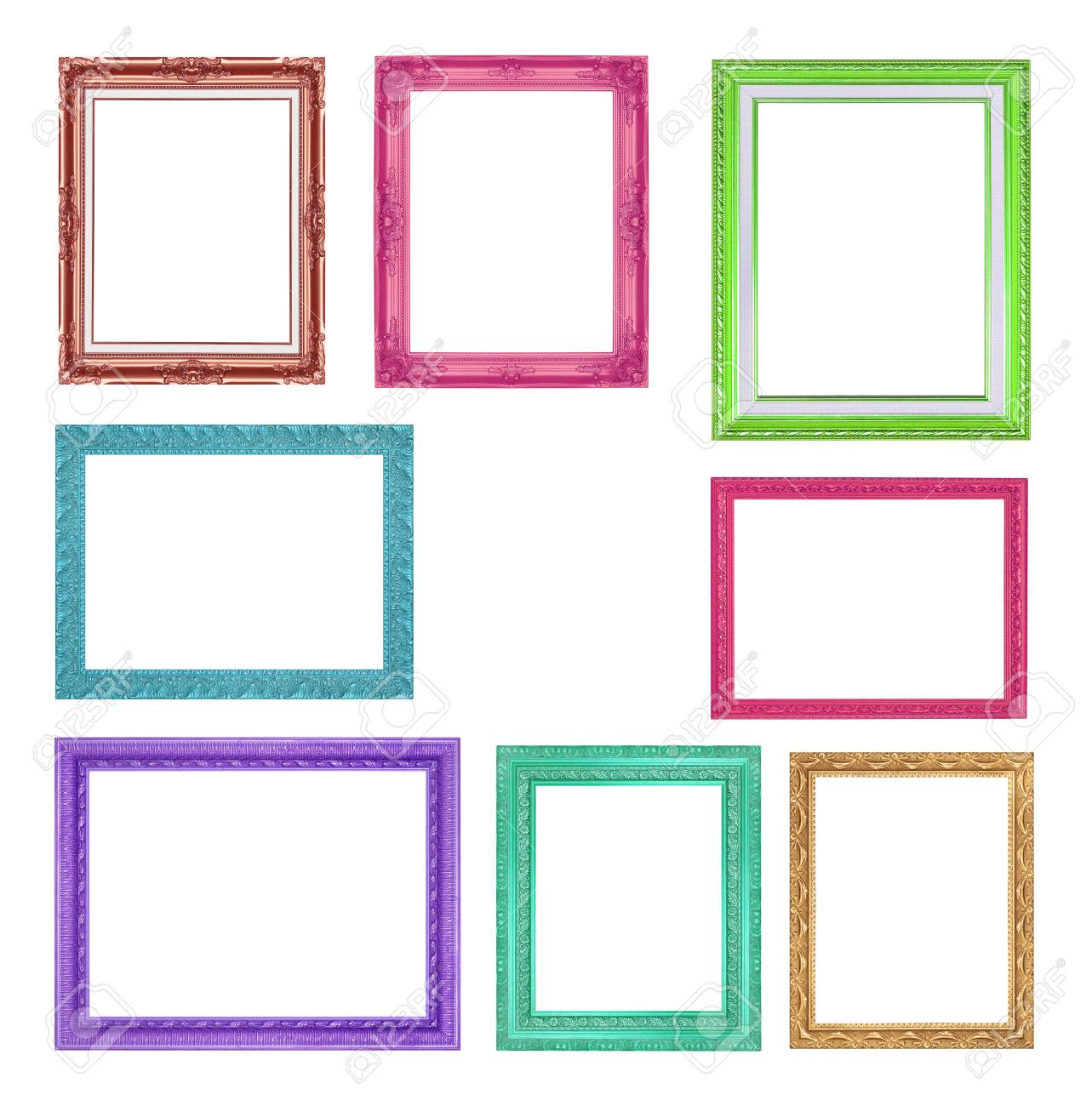 cf746af2a7dd The collection colorful frames on the white background Stock Photo -  83495844