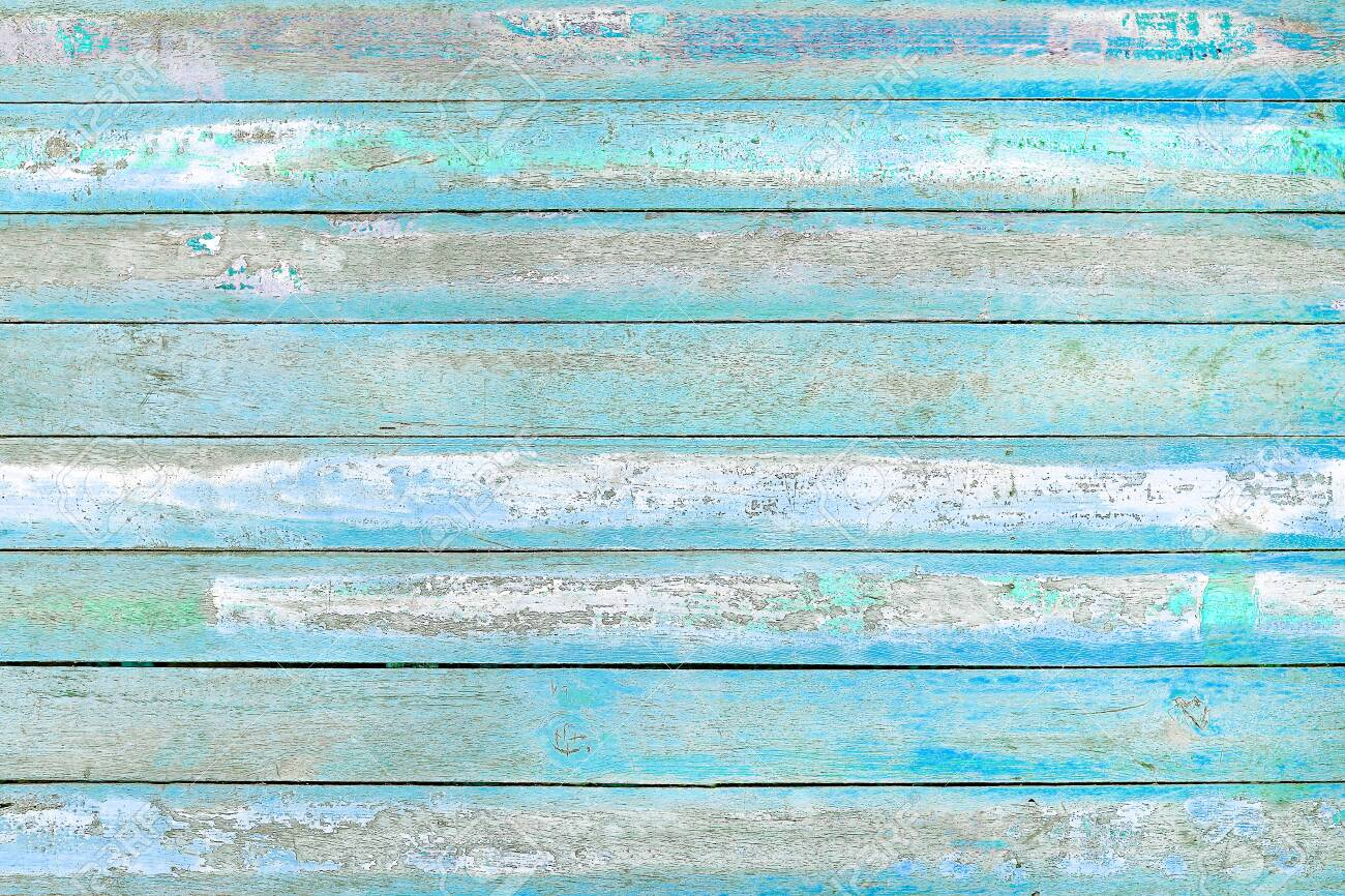 Old wooden blue and white wall texture background - 131063546