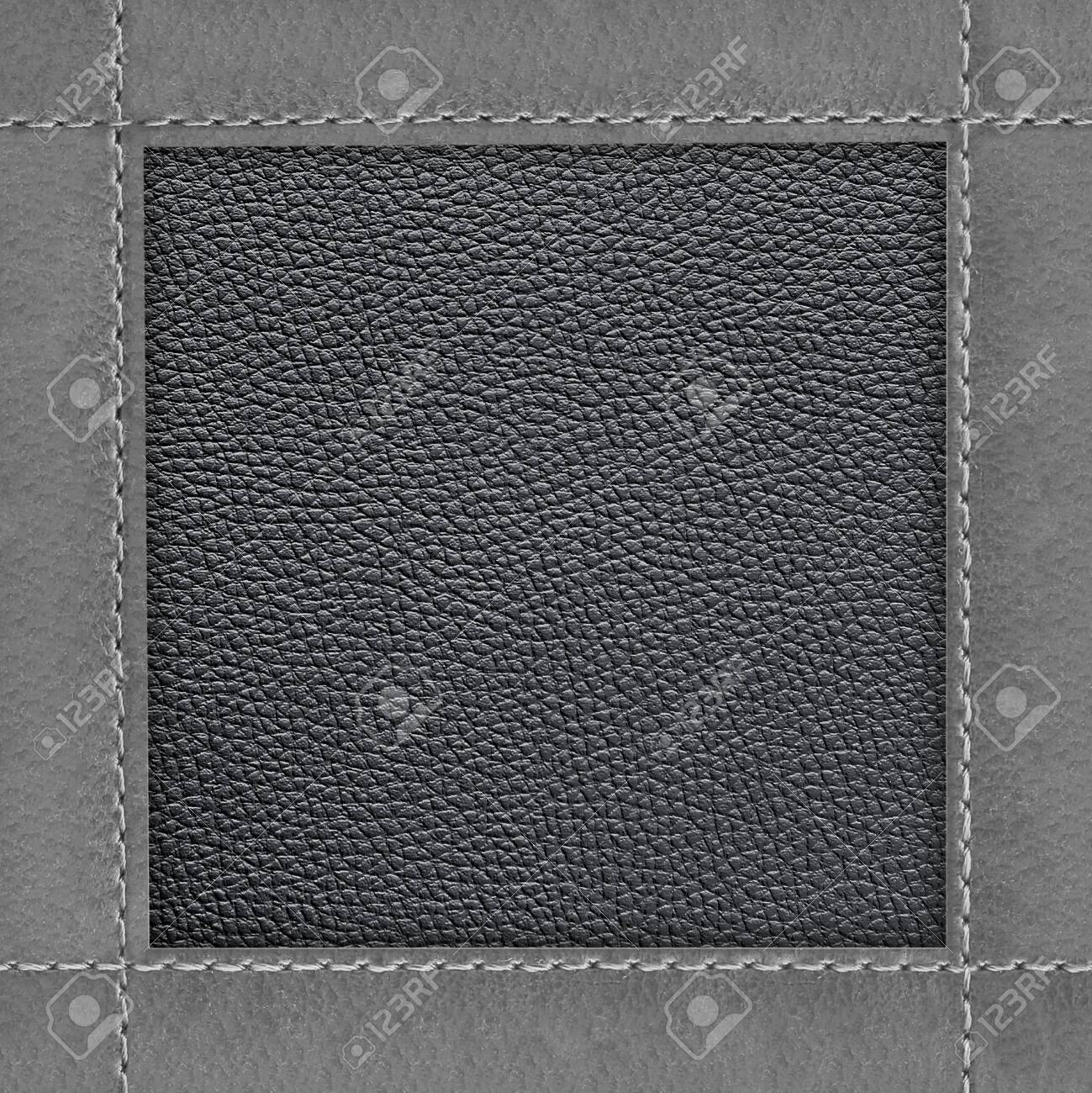Leather frame of stitched leather texture background - 137329873