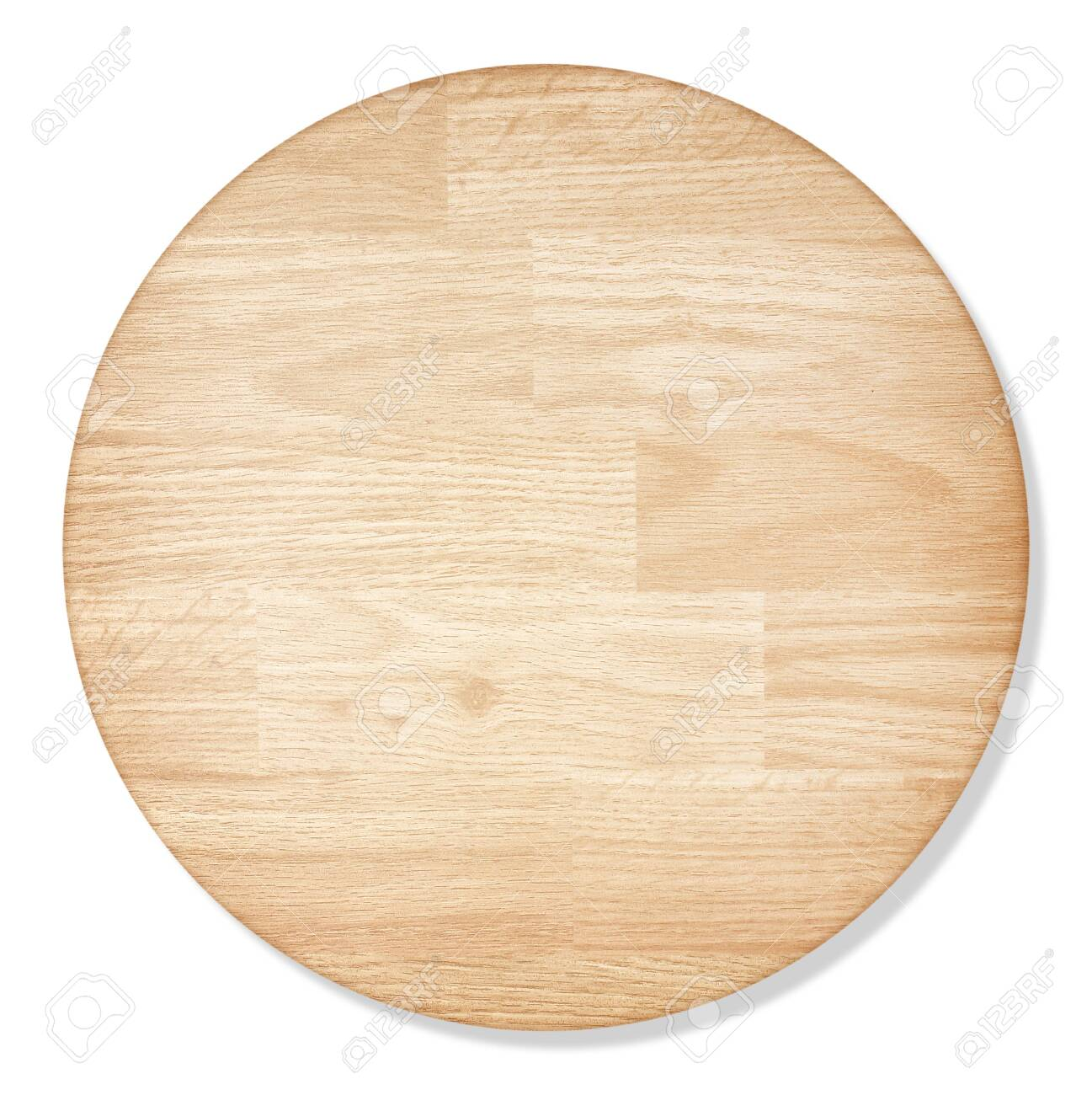 round wooden cutting Board isolated on white background with - 148974063