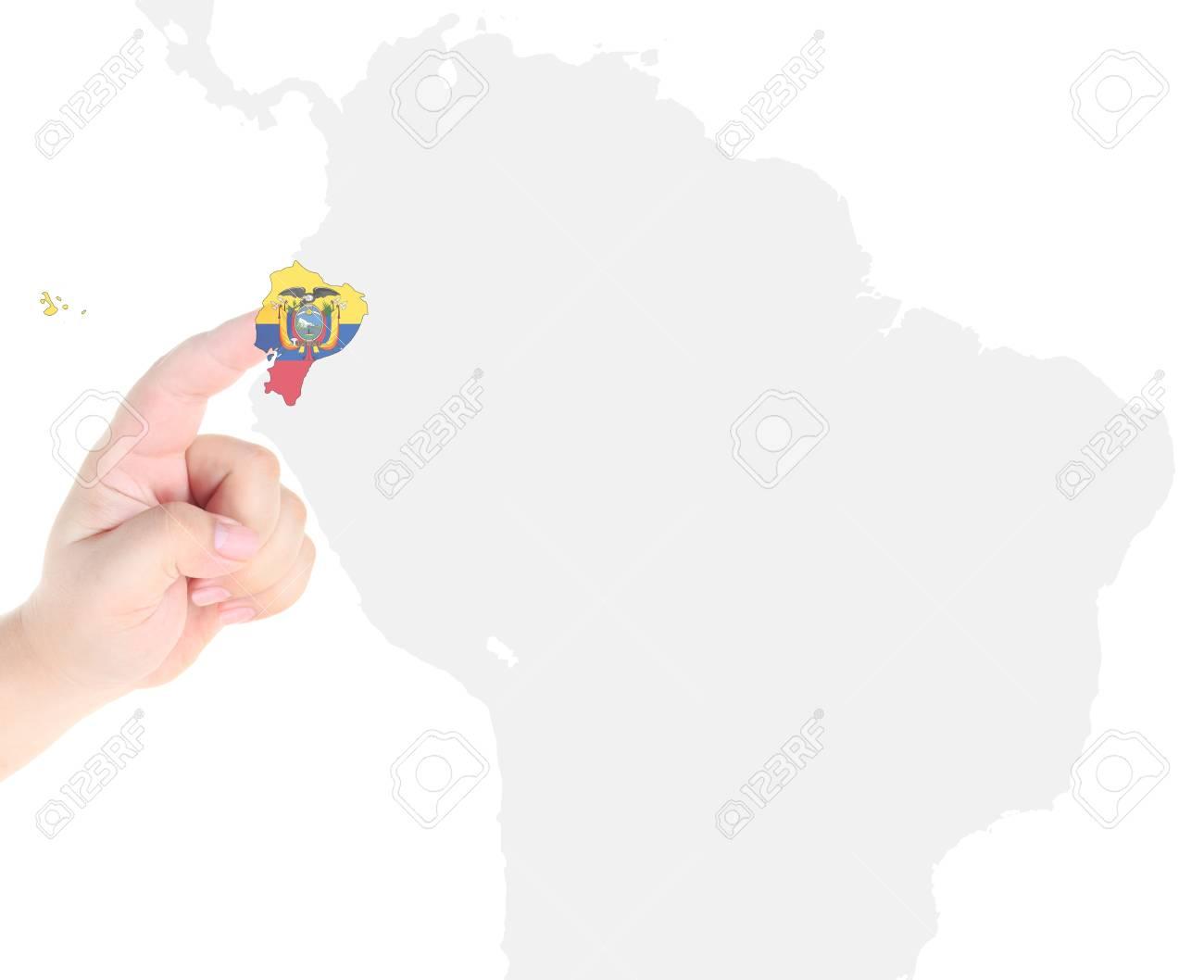 Finger touch on Ecuador map flag Stock Photo - 10766603