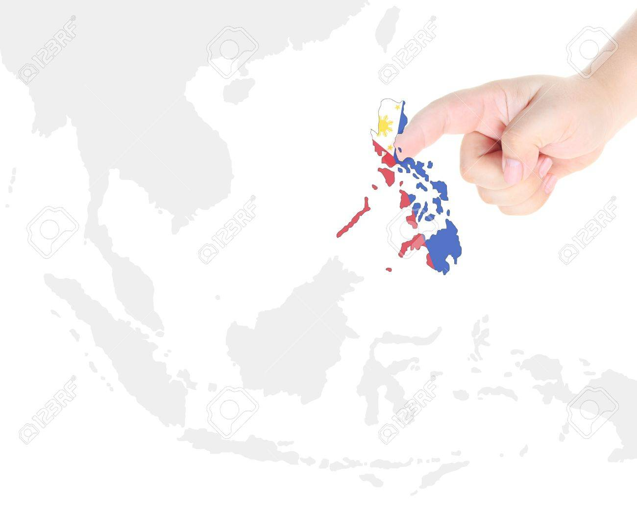 f750cf9bde45c Finger touch on Philippine map flag Stock Photo - 10759988