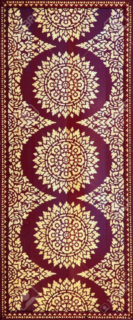 Golden on red thai painting wallpaper, Buddha temple wall and ceiling decoration Stock Photo - 12307680