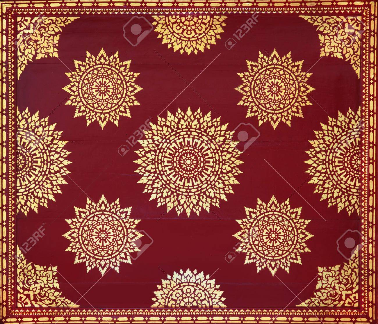 Golden On Red Thai Painting Wallpaper Buddha Temple Wall And