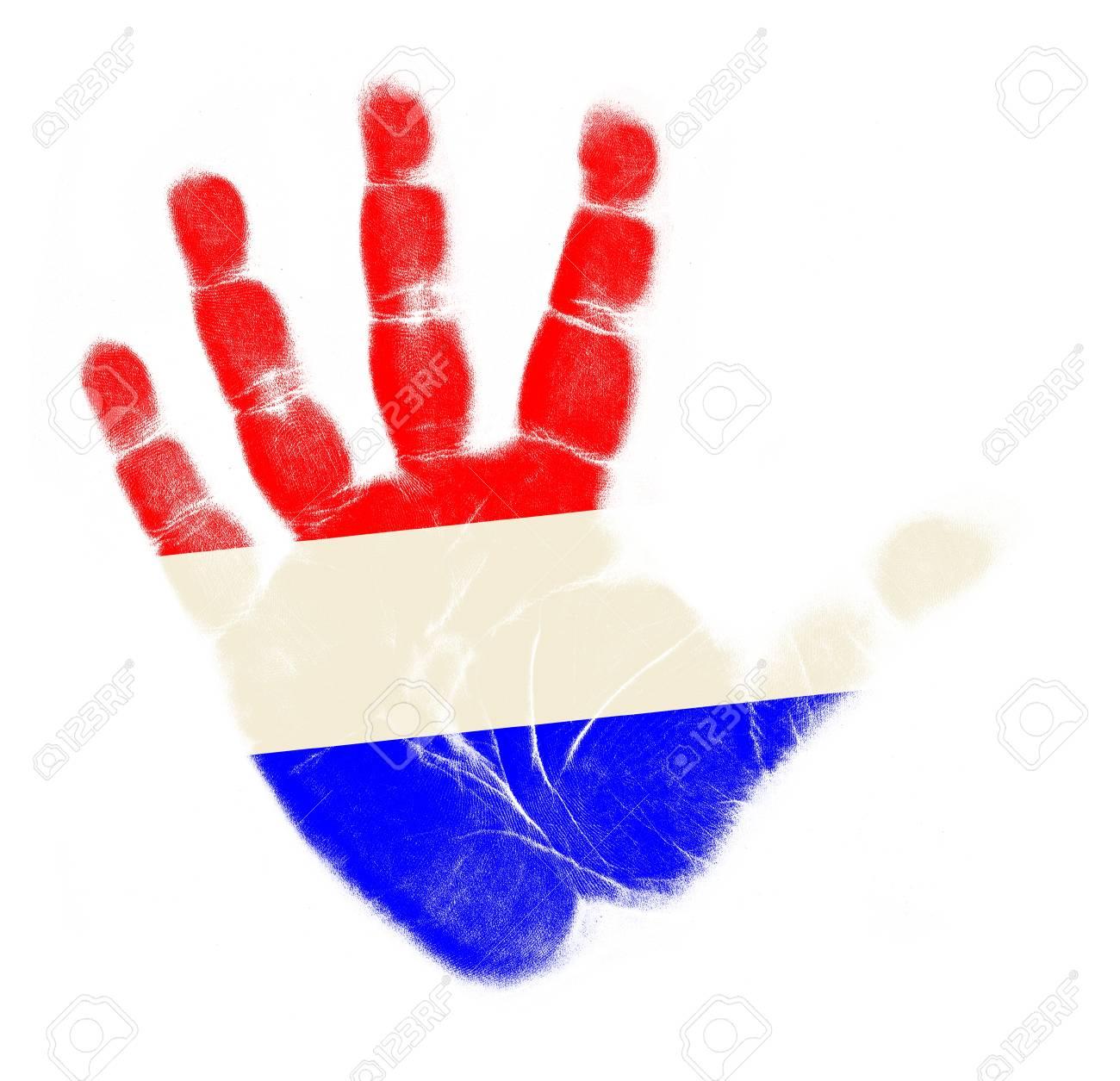Netherlands flag palm print isolated on white background Stock Photo - 12661206