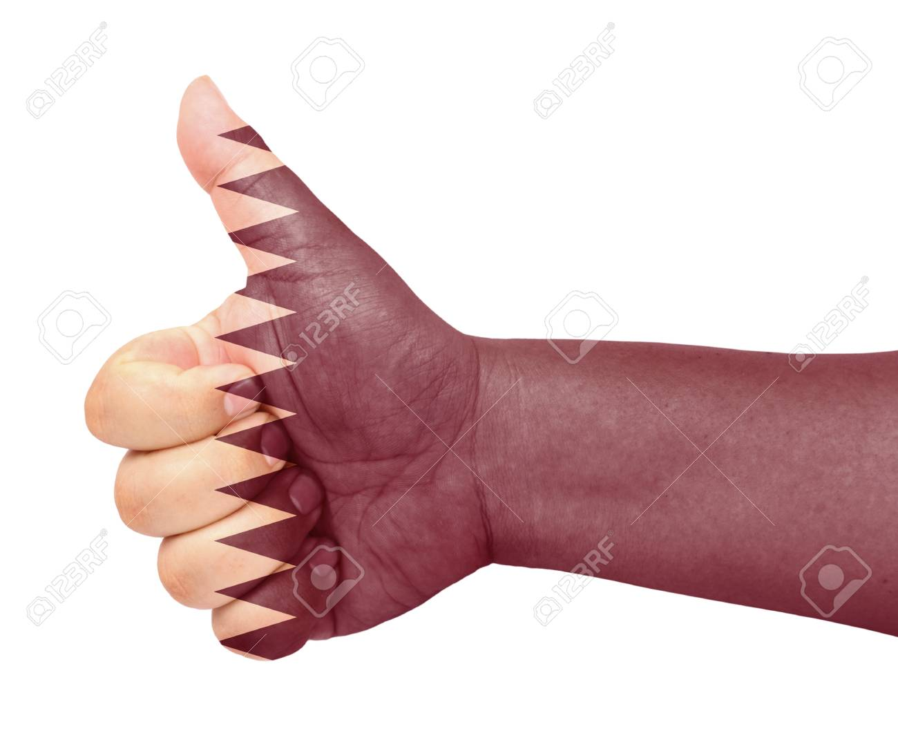 Qatar flag on thumb up gesture like icon Stock Photo - 13419462