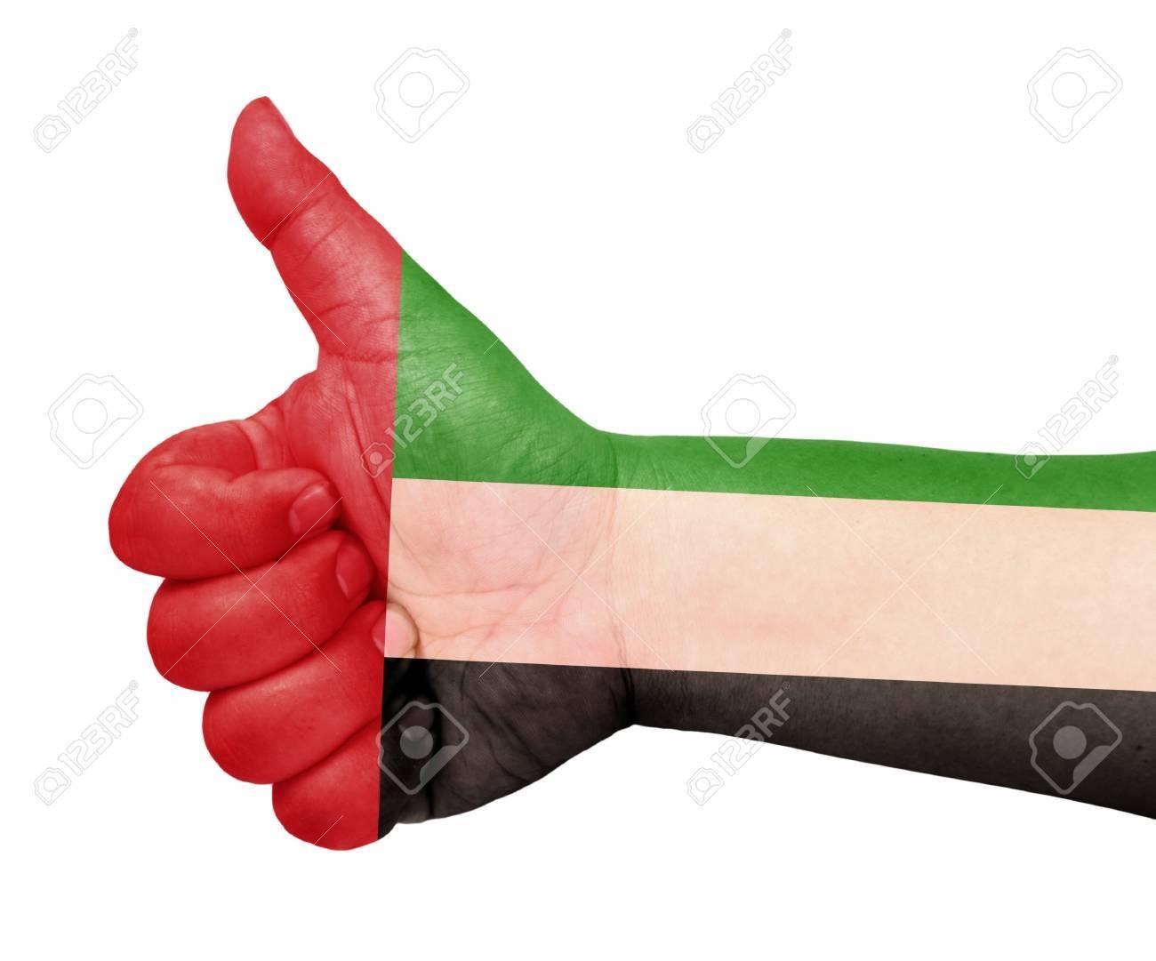 UAE flag on thumb up gesture like icon Stock Photo - 13419450