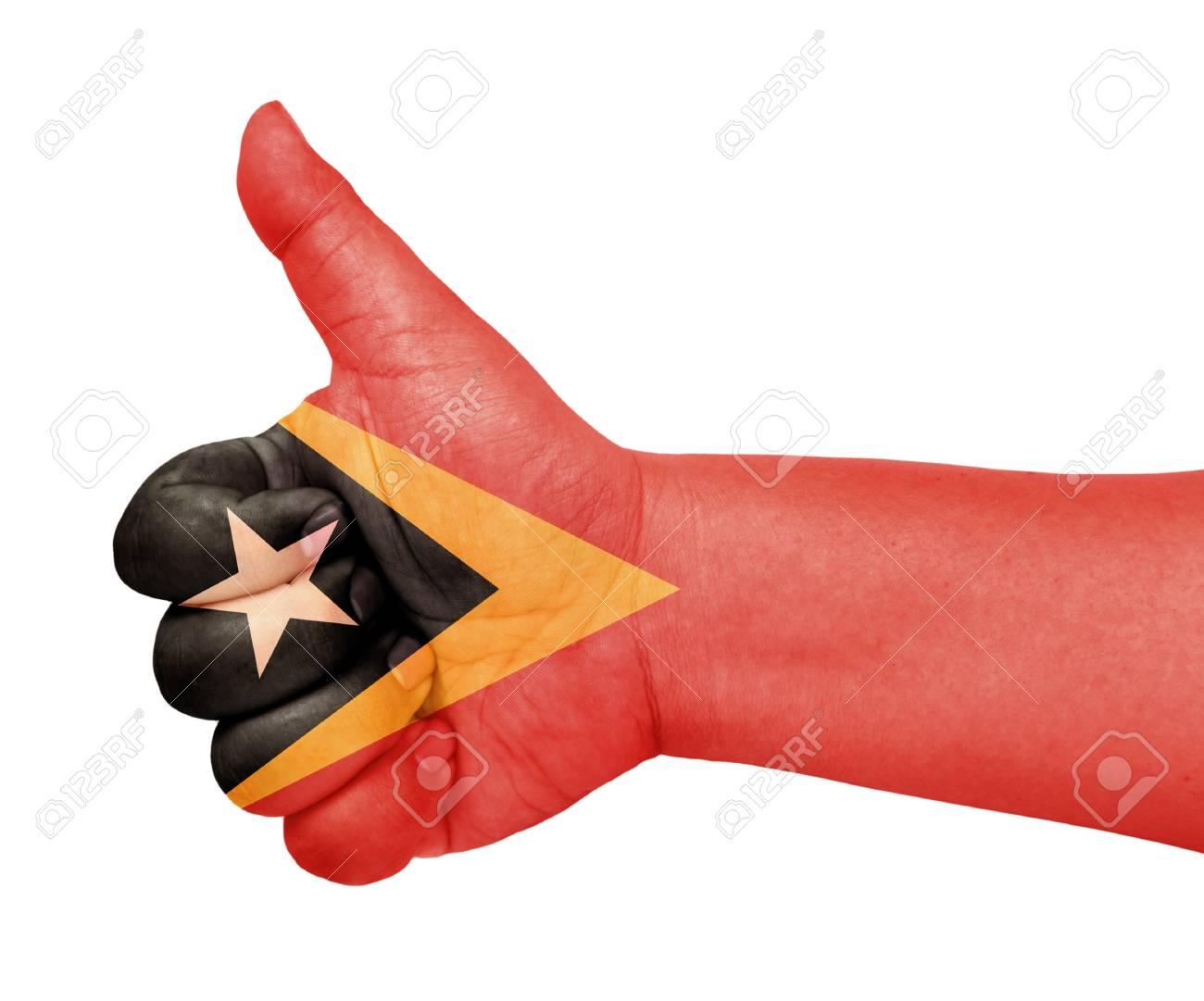 East Timor flag on thumb up gesture like icon Stock Photo - 13729832