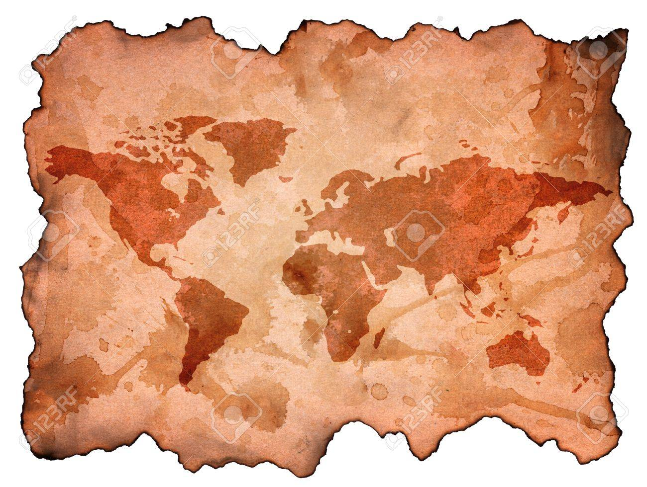 Brown burn old world map paper isolate on white background stock brown burn old world map paper isolate on white background stock photo 15386418 gumiabroncs Images