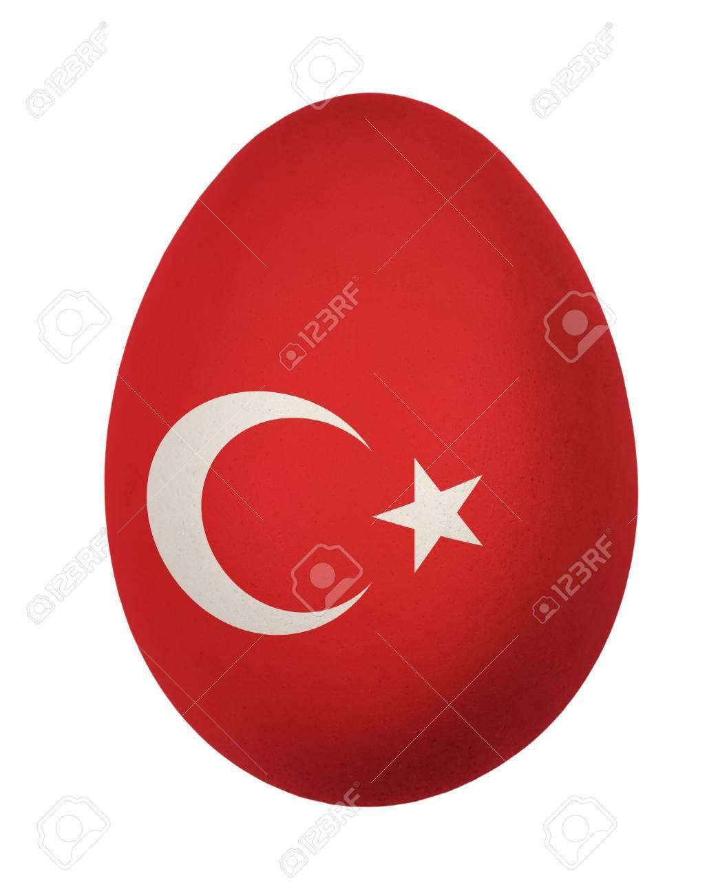 colorful turkey flag easter egg isolated on white background stock