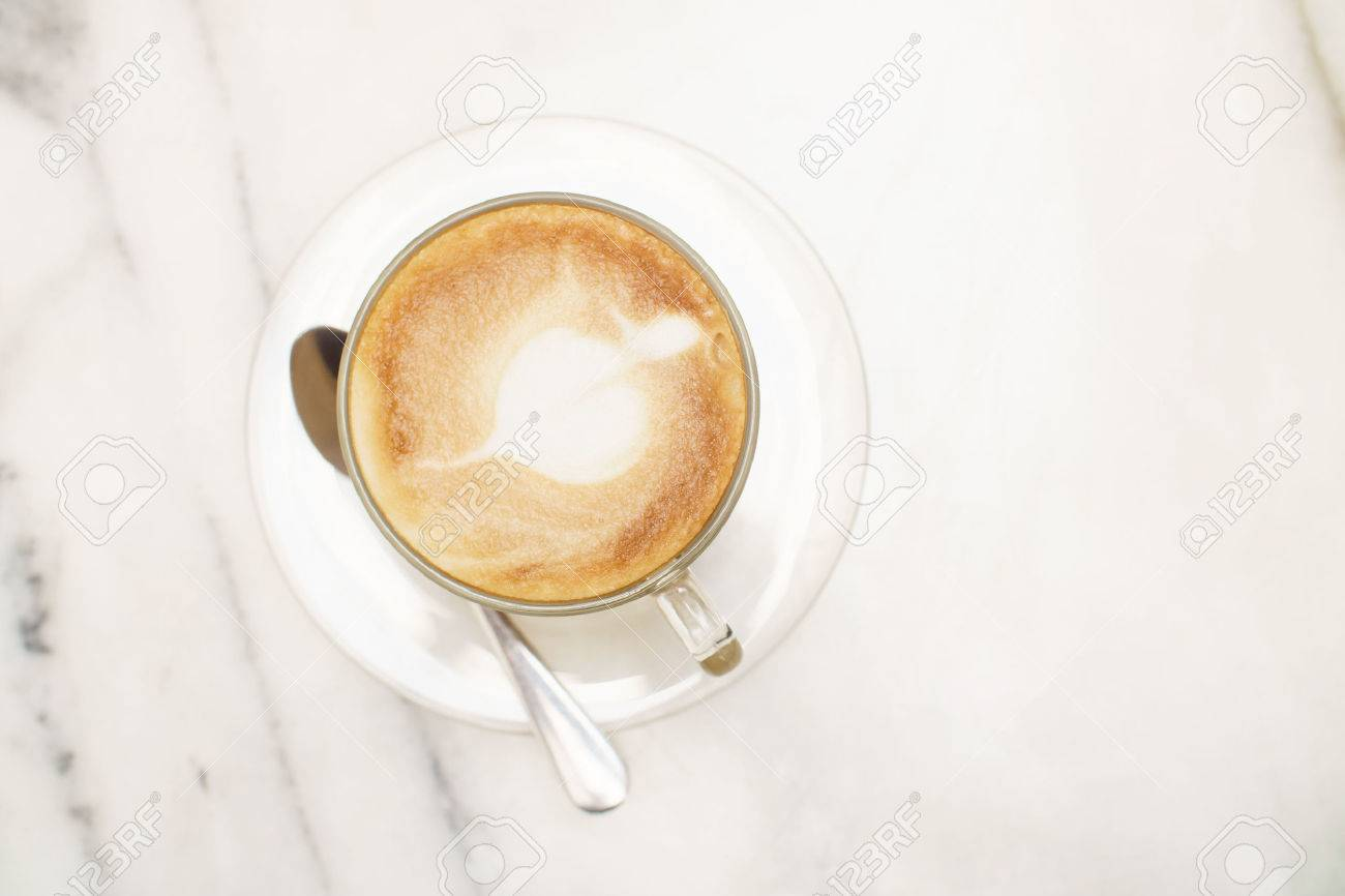 Top View Coffee Latte Glass Cup On White Marble Table Stock Photo ... for White Marble Table Top View  110zmd