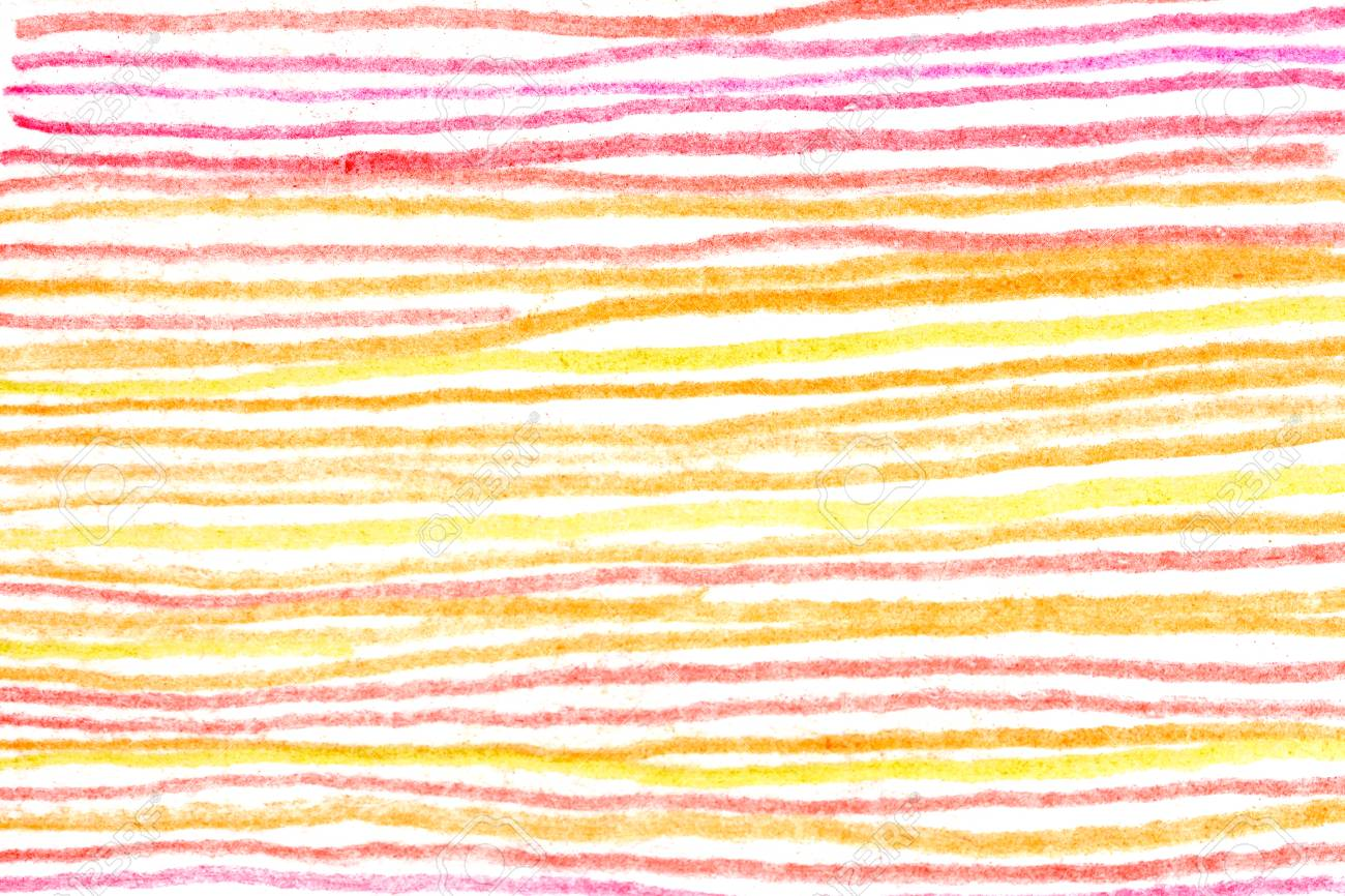Messy hot color pencil drawing horizontal red yellow orange line