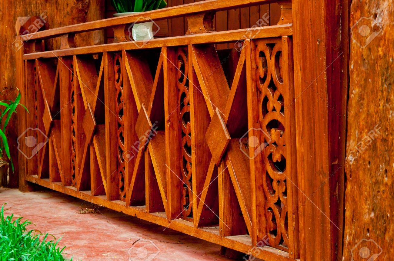 Fence Made Of Teak Wood Carving