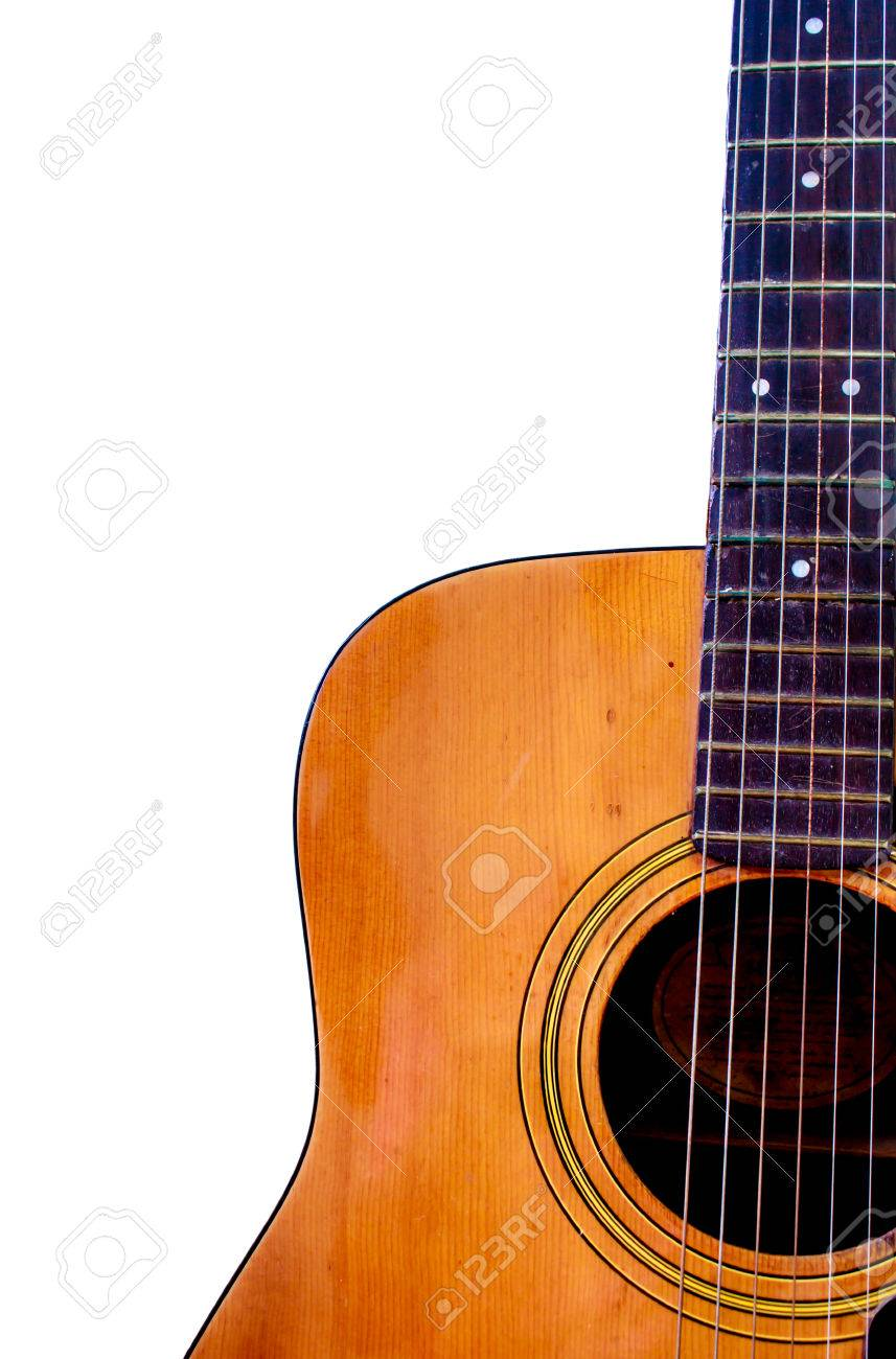 Acoustic Guitar Wallpaper Isolated On White Background For Poster