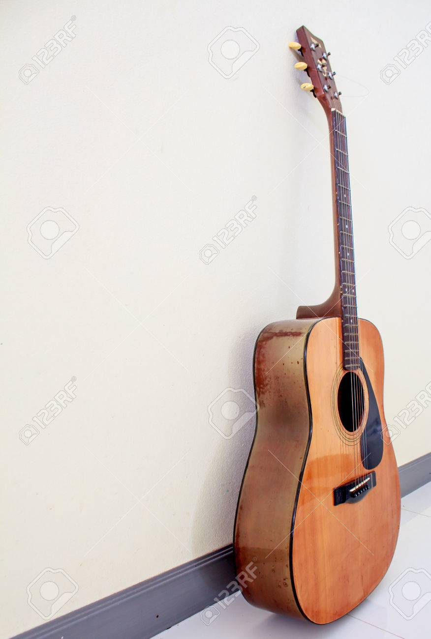 Acoustic guitar wallpaper isolated on white background for poster design Stock Photo - 46188256