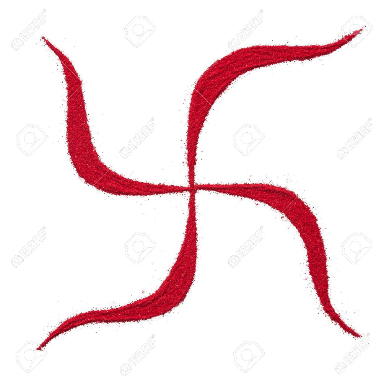 Top View Close Up Of Red Color Swastik Rangoli Symbol Isolated