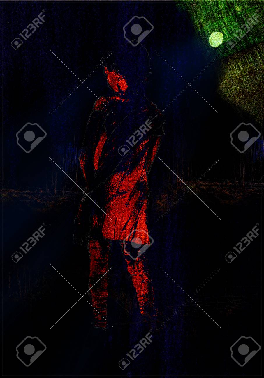 Girl Alone Stand In Dark Night Near Forest Art Painting