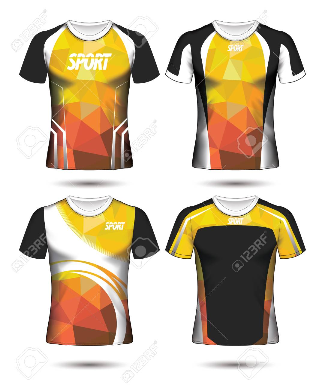 52203da583c Set of Soccer sport t-shirt layout design poly template and polo shirt  vector illustration