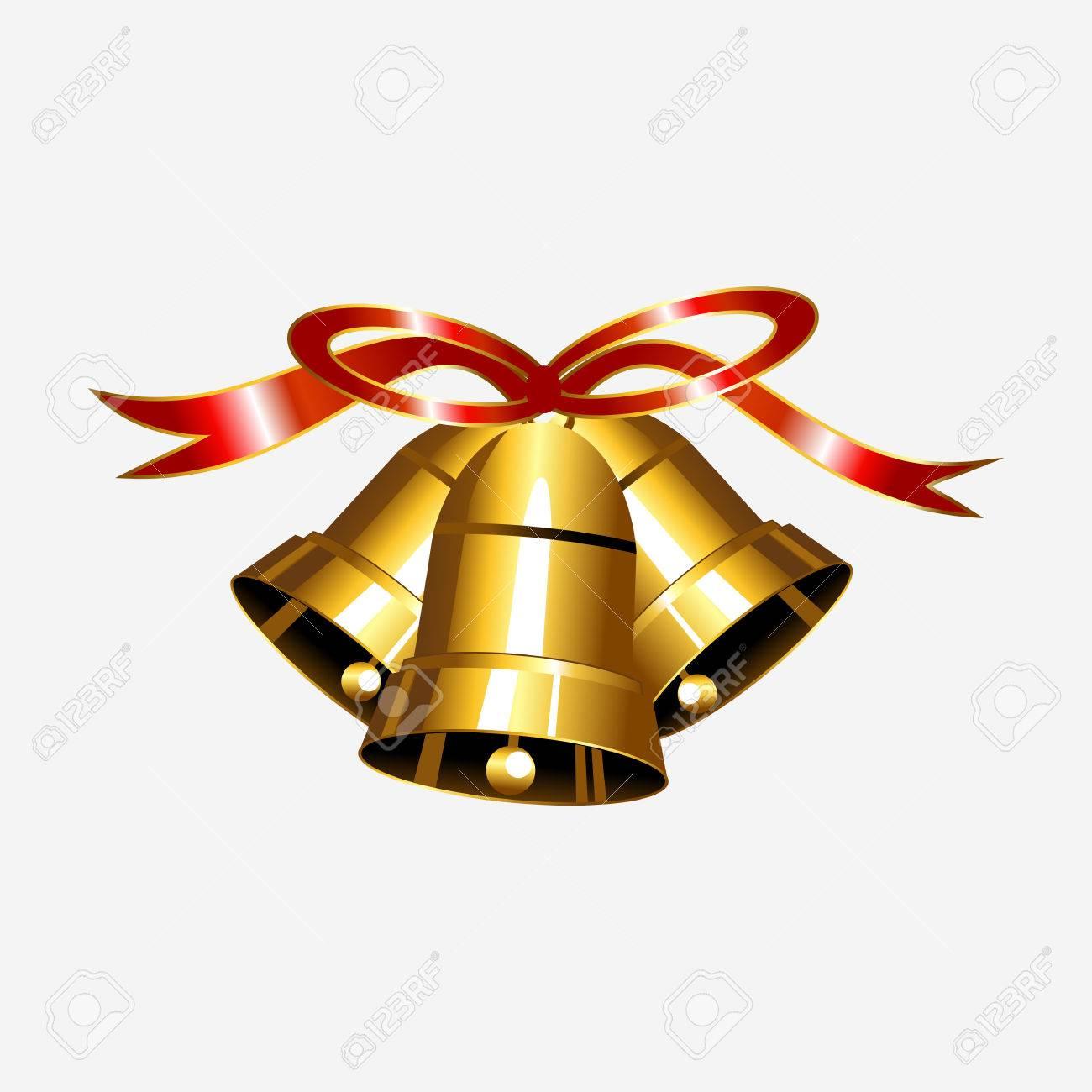 赤いリボンのイラストが金の鐘クリスマス ベル イラストジングル鐘の