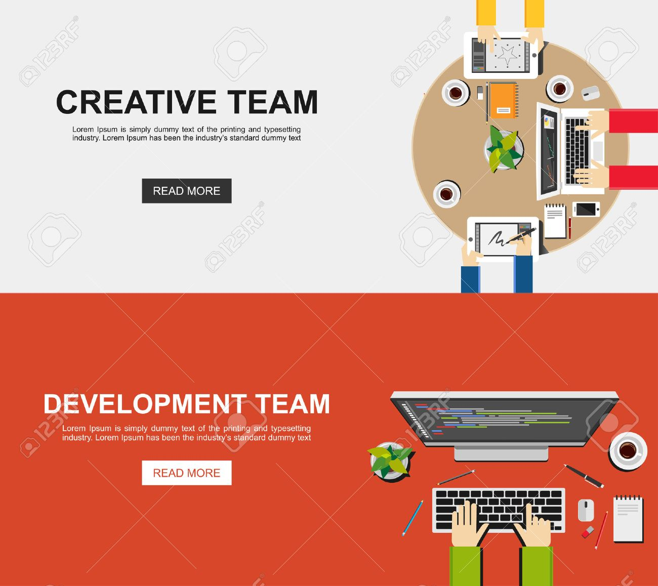 Banner Illustration Of Creative Team And Development Team Flat Royalty Free Cliparts Vectors And Stock Illustration Image 41627193
