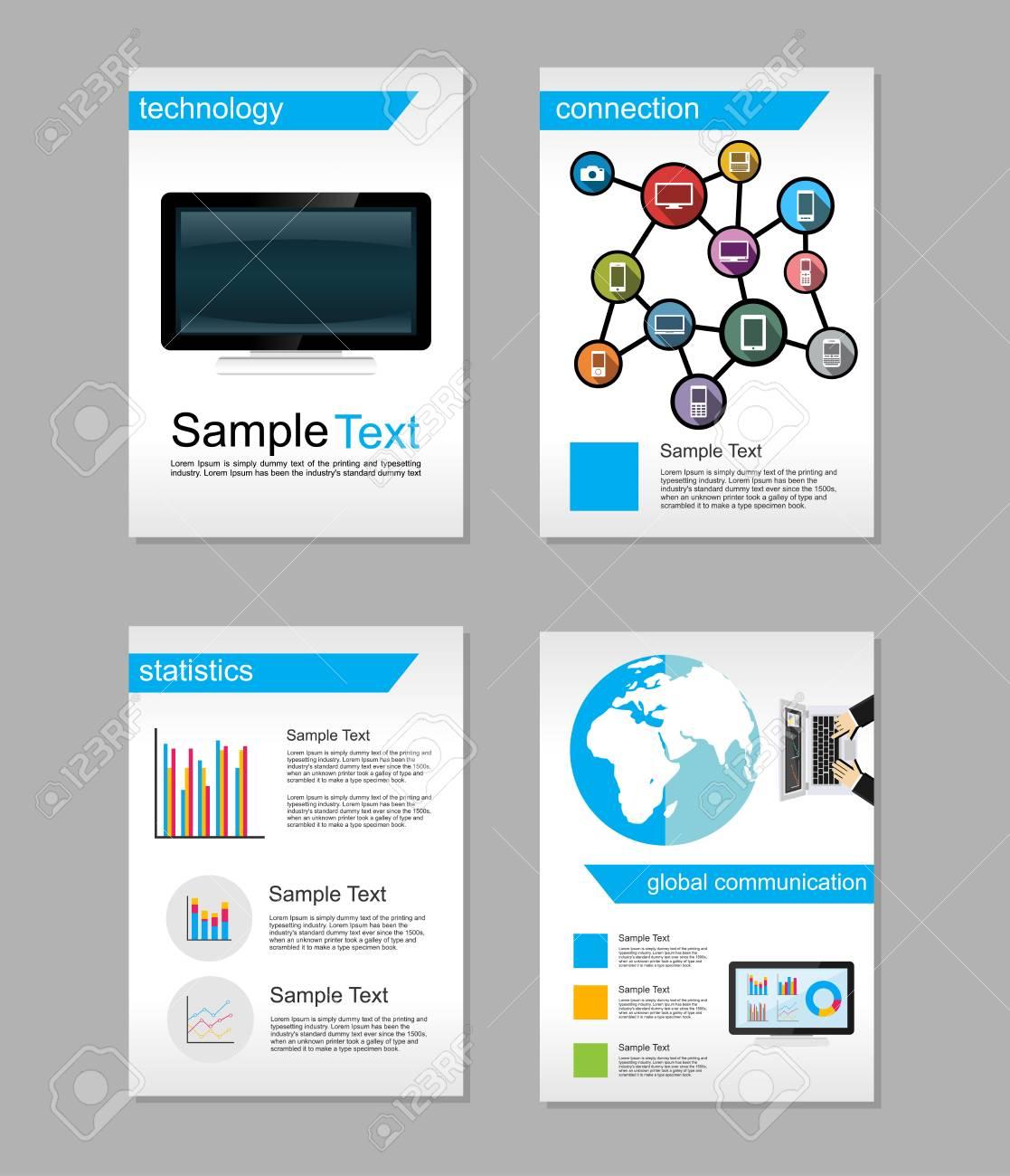 set of flyer brochure design templates information technology
