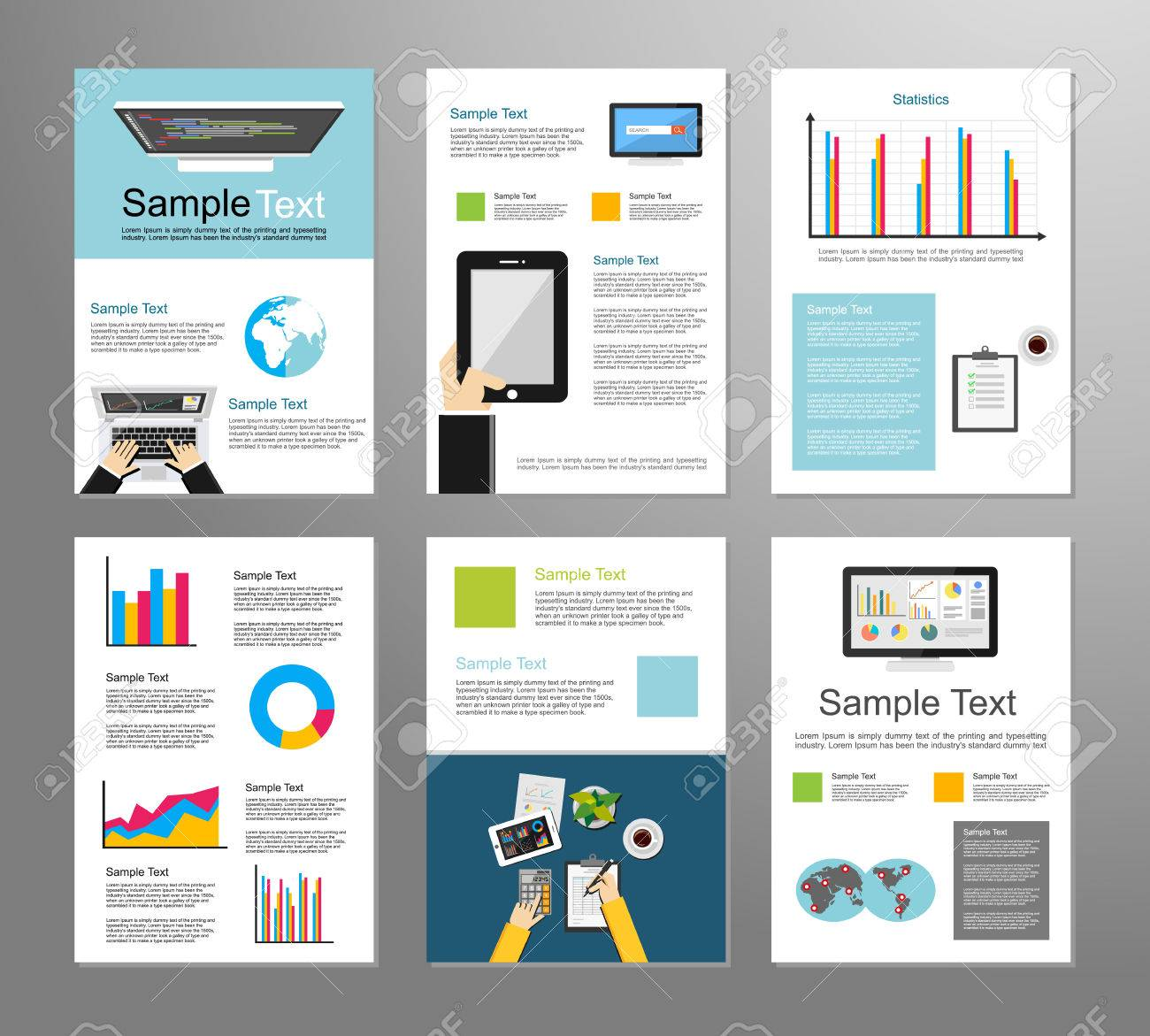 Information Technology Or Business Infographic Elements IT - Technology brochure template