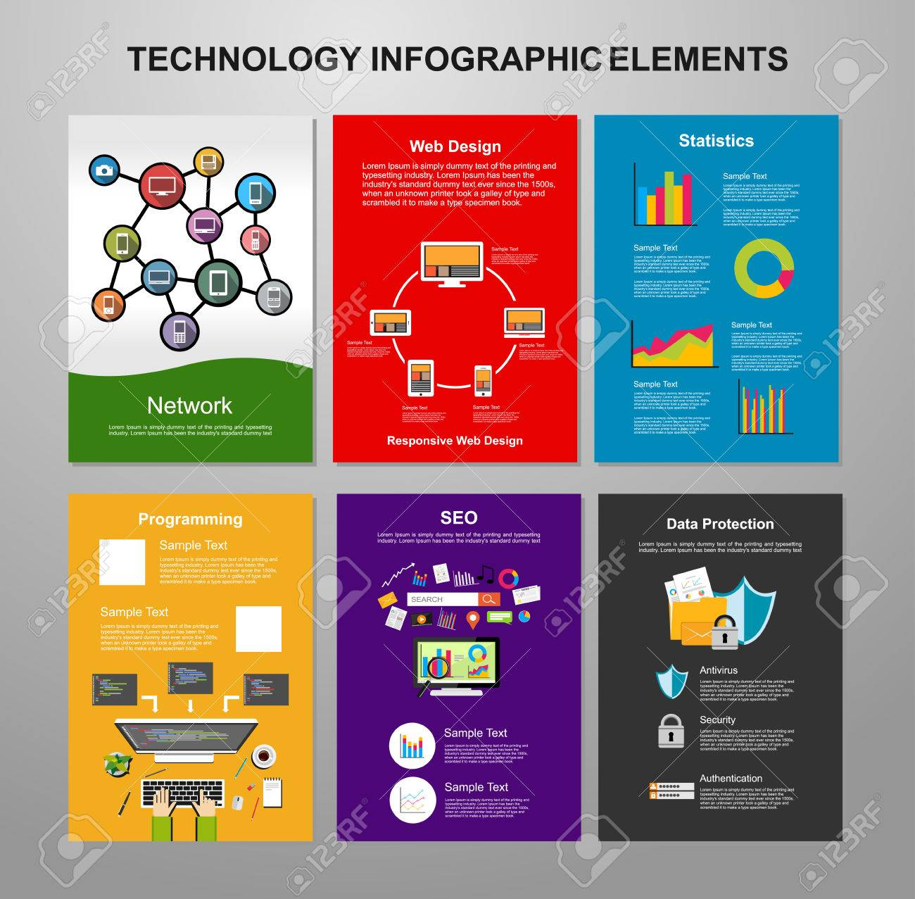 Information Technology Infographic Elements IT Background - Information brochure template