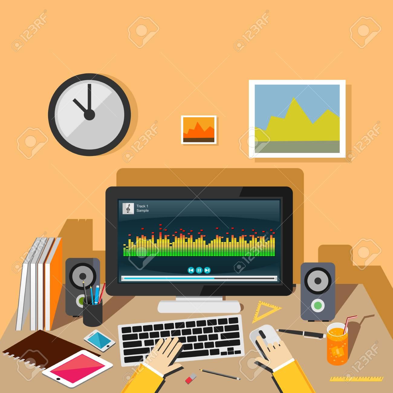 Listening music concept illustration Running music player on