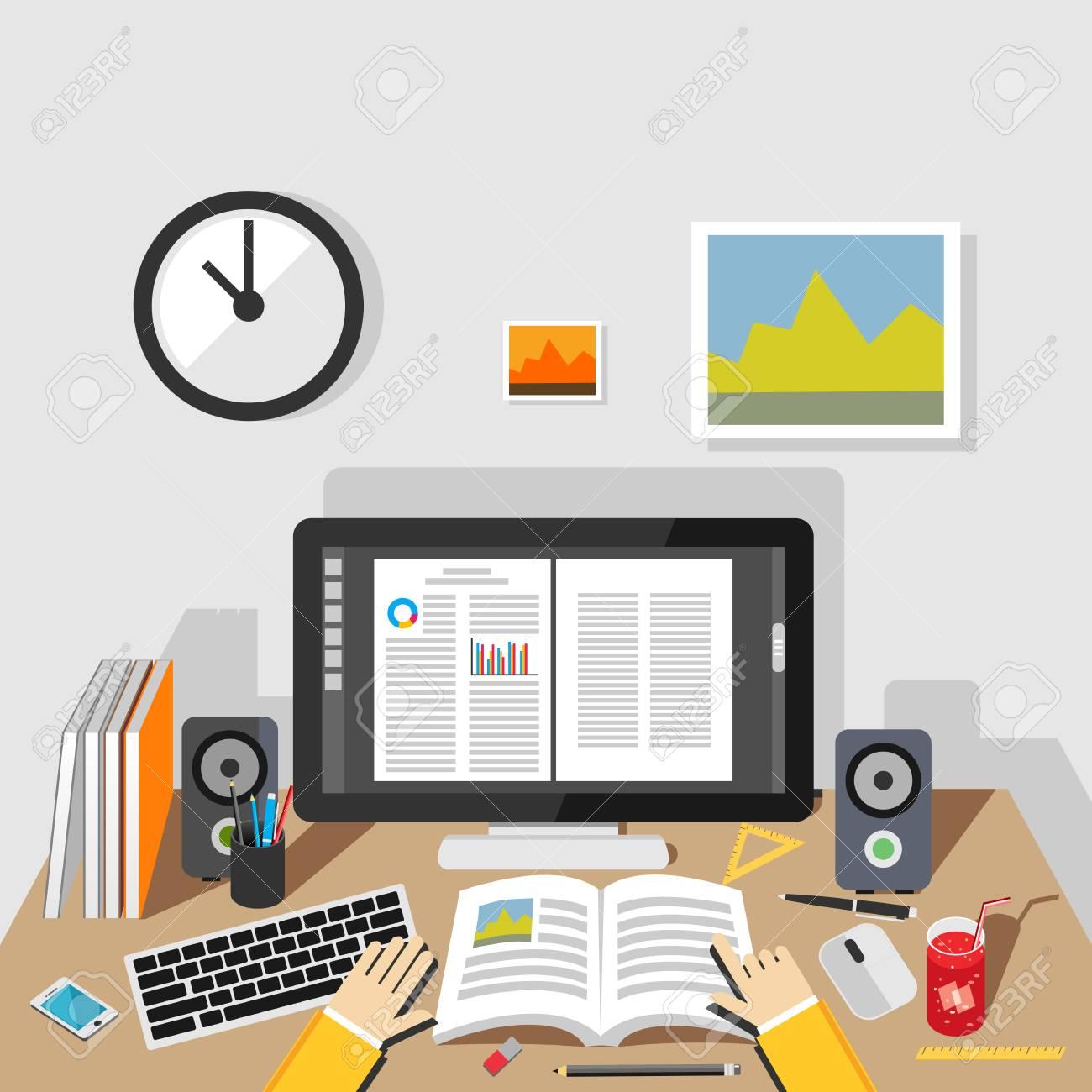 Studying illustration. Studying concept. Flat design illustration concepts for studying, working, reading, analysis, planning, writing, development, brainstorming. - 44040246