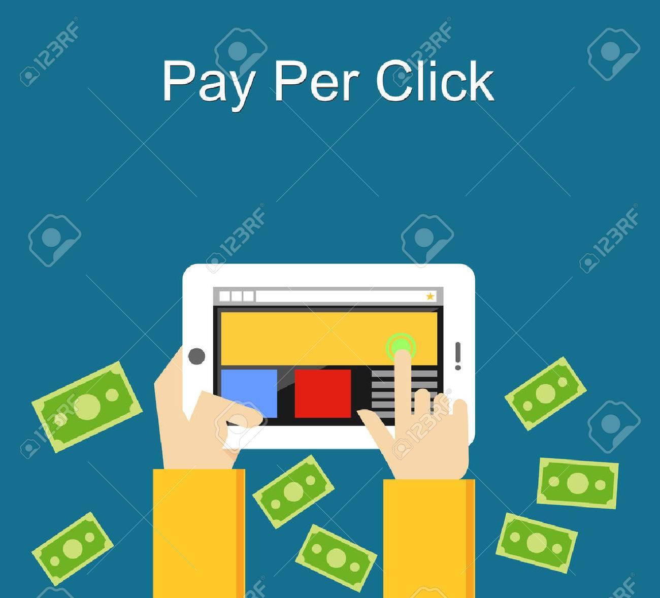 Pay per click flat design illustration. - 44039986