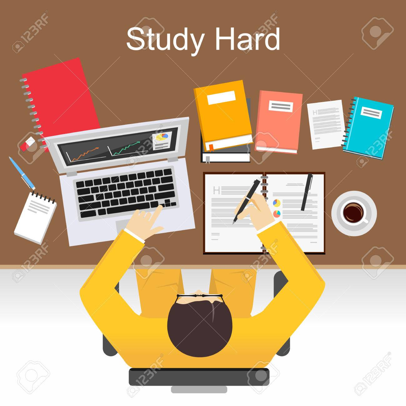 study hard concept illustration flat design illustration concepts study hard concept illustration flat design illustration concepts for study hard working research