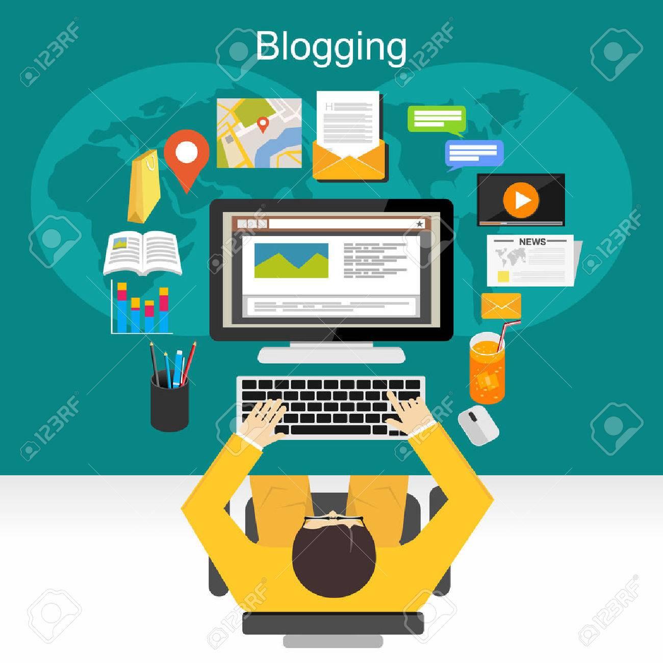 Blogging illustration concept. - 44827466