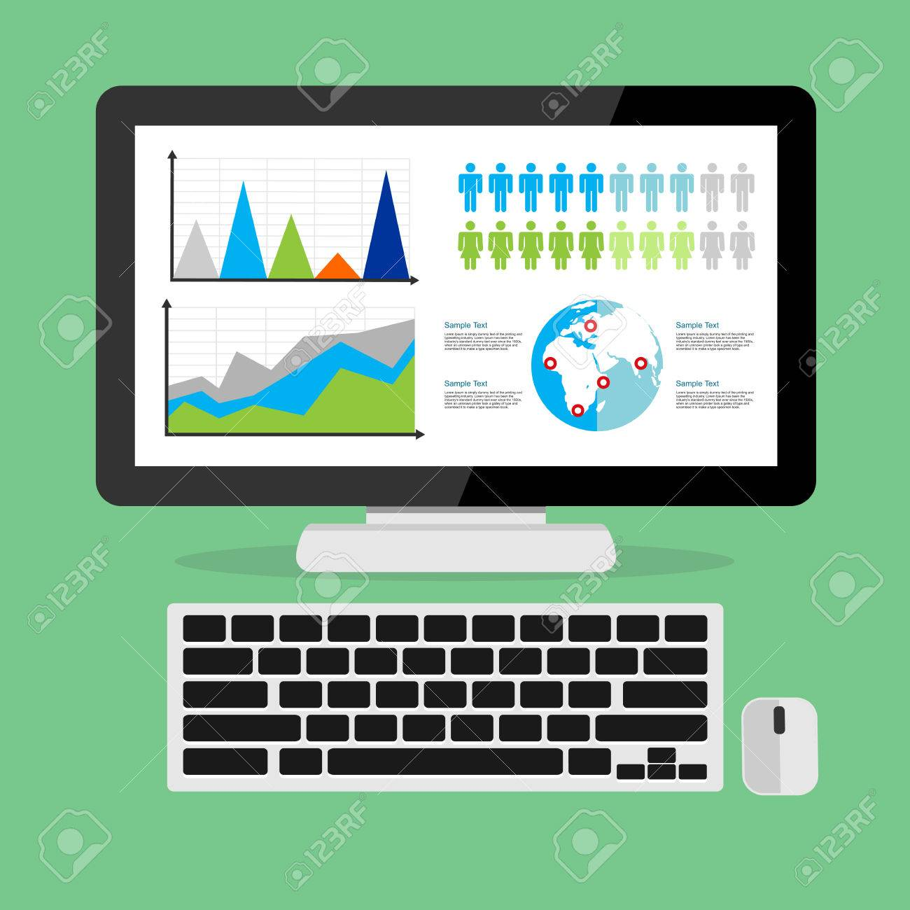 Web analytic showing business growth graph concept illustration. - 44827979