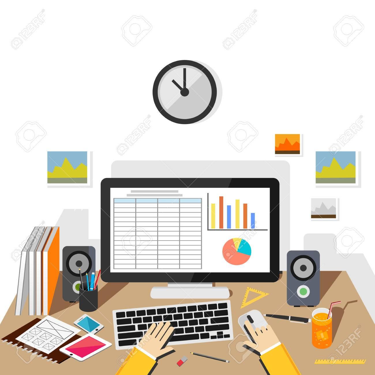 Businessman making report concept illustration. Business analysis. - 45098157