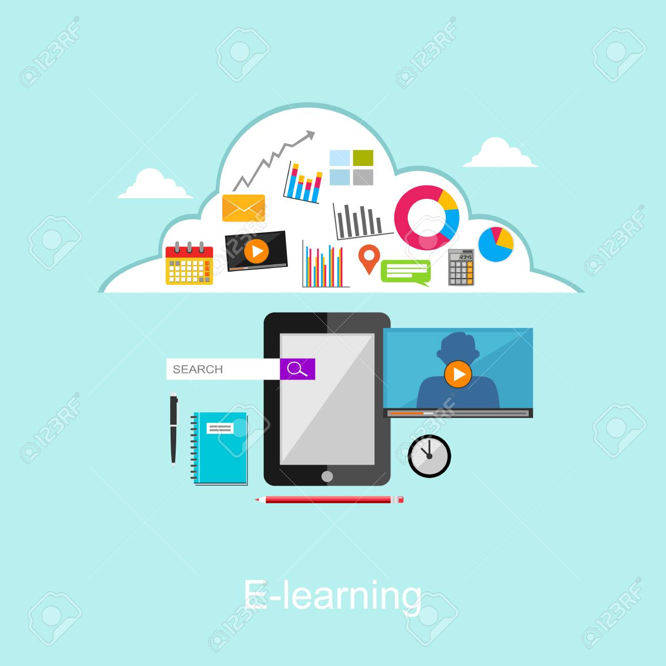 E Learning Flat Design Illustration Concept Royalty Free Cliparts Vectors And Stock Illustration Image 54531089